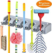 BUECON Multipurpose Wall Mounted Magic Holder Broom and Mop Organizer Storage Hook, 5 Position 6 Hooks Hanger for Bathroom, Kitchen, Garden (Standard, Multicolour)