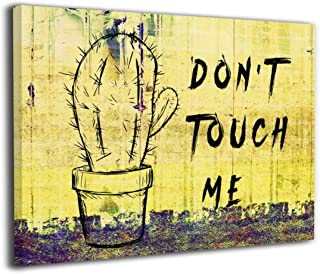 SRuhqu Canvas Wall Art Prints Cactus Don't Touch Me Plant -Picture Paintings Modern Home Decoration Giclee Artwork-Wood Frame Ready to Hang