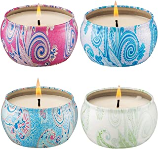 Onlywax VanillaLemongrass French Lavender and Rose Strongly Scented Sustainable Vegan Natural Soy Travel Tin Candles 4-Pack