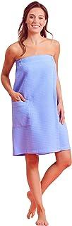 Toalla de baño para mujer con bolsillo, cierre suave y ligero ajustable, secado rápido, Azul serenidad, L/XL