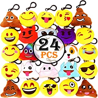 Emoji Keychain Mini Cute Plush Pillows, Key Chain Kids Supplies, Party Favors for Kids, Pack of 24