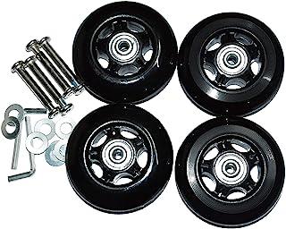 Sxspace 2 pares de maletas de repuesto con ruedas de goma y metal para maleta con ruedas, Negro , 2Paars 50mmx18mmx6mm