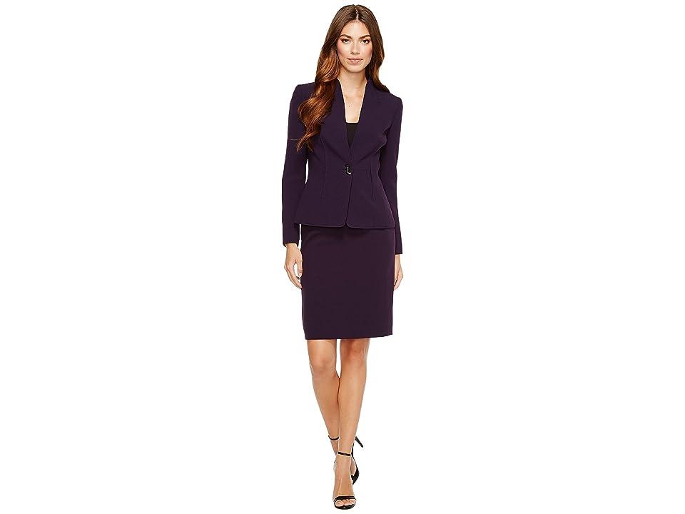 Tahari by ASL Long Sleeve Collarless Jacket Skirt Suit (Plum) Women