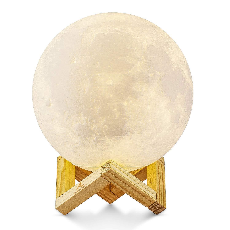 4inch//10cm l/ámpara de luna con impresi/ón 3D con soporte y control t/áctil para cambiar de color y brillo L/ámpara de luz nocturna con foto personalizada con su propia imagen y texto