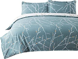 Duvet Cover Set with Zipper Closure-Teal/White Printed Branch Pattern Reversible,Full/Queen (90x90 inches)-3 Pieces (1 Duvet Cover + 2 Pillow Shams)-110 gsm Ultra Soft Hypoallergenic Microfiber