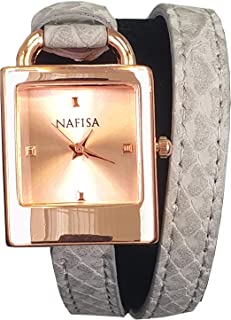 KTC Nafisa Women's Rose Gold Color Case Rectangular Dial Long Bracelet Strap Quartz Watch NA-0067