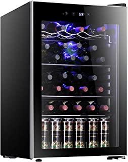 Antarctic Star 36 Bottle Wine Cooler/Cabinet Beverage Refrigerator Small Red & White Wine Cellar Digital Temperature Beer Soda Counter Top Bar Fridge Quiet Operation Compressor Freestanding Black