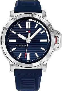 ساعت مچی کوارتز فولادی ضد زنگ Tommy Hilfiger مردانه با بند سیلیکون ، آبی ، 20.6 (مدل: 1791588)