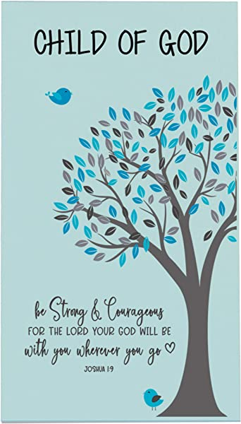 LifeSong Milestones Baptism Christening Nursery Gifts For Baby Boys And Girls Wall Decor Sign Plaque Gift With Quote For Godchild Son For 1st Holy Communion 8 X16 Boy Be Strong