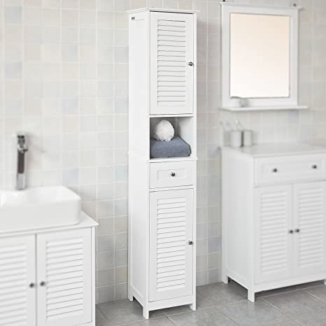 Amazon Com Haotian White Floor Standing Tall Bathroom Storage Cabinet With Shelves And Drawers Linen Tower Bath Cabinet Cabinet With Shelf Frg236 W Home Kitchen