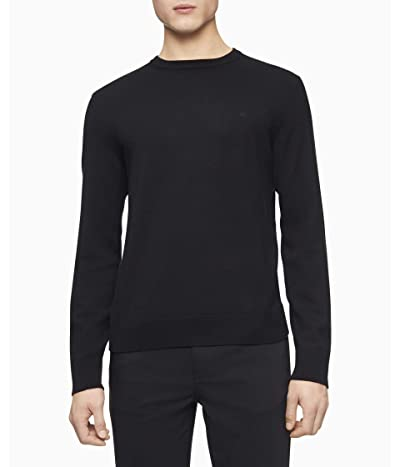 Calvin Klein Merino Crew Neck Sweater (Black 2) Men