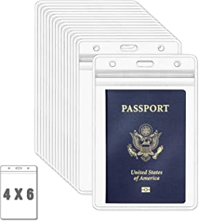 MIFFLIN Passport Holders (Clear, 4x6 Inches, 50 Pack), Extra Large (XXL) ID Badge Holder, Waterproof Vertical Plastic Card Holders