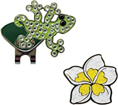 Navika Crystal Gecko and Glitzy White Plumeria Ball Marker Combo with ONE Magnetic Hat Clip