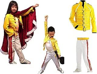 Freddie Mercury Costume Kids Outfit - Holloween Costume for Kids Faux Leather Freddie Mercury Jacket/Pants/Costume