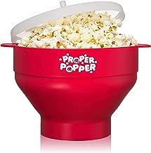 The Original Proper Popper Microwave Popcorn Popper, Silicone Popcorn Maker, Collapsible Bowl BPA Free & Dishwasher Safe - (Red)