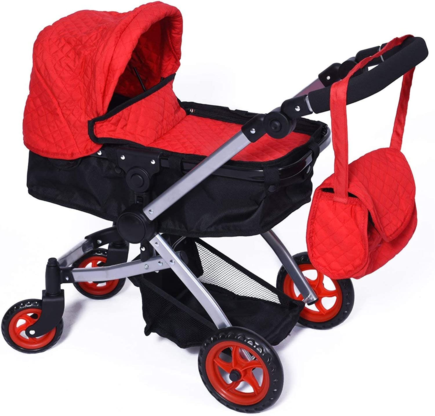 Red Quilted Baby Doll Stroller with Swiveling Wheels & Adjustable Handle  FREE Carriage Bag.
