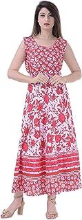 Jaipuri Creation Women's Cotton Maxi Long Dress Jaipuri Printed Cotton Flared Kurta Jaiputi Printed Dress (Free Size 48 to 50)