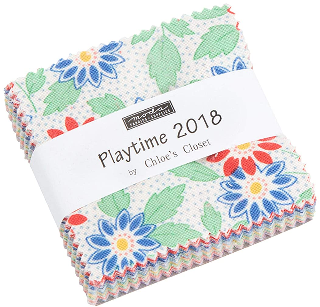 30's Playtime 2018 Mini Charm Pack by Chloe's Closet; 42-2.5 Inch Precut Fabric Quilt Squares