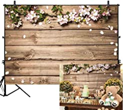 Allenjoy 7x5ft Vinyl Rustic Wood Wedding Flowers Floral Backdrop Wooden Texture Board Floor Wall Photography Backgrounds Bridal Shower Baby Shower Birthday Party Banner Photo Studio Props