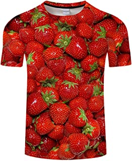 Customevader Unisex 3D HD Fruit Printed Short Sleeve T-Shirts Round Neck Couple Tees S-3XL