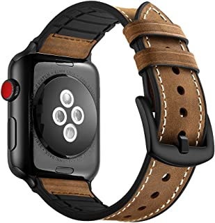 Coobes Compatible with Apple Watch Band 44mm 42mm Men Women Genuine Leather Bracelet Sport Wristband Replacement Strap Compatible for iWatch Series 4/3/2/1 (Crazy Horse Brown, 44/42mm)