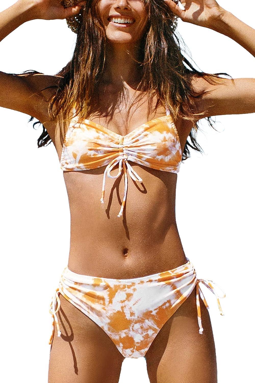 CUPSHE Women's Bikini Swimsuit Tie Dye Drawstring Low Rise Two Piece Bathing Suit