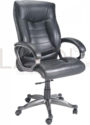 Lakdi-The Furniture Co. Black Fully Cushioned High Back Leatherite Executive Chair Comes with Lumbar Support Ideal for - Offices, Institutions & Homes