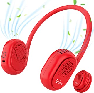 Portable Bladeless Neck Fan, TESECU Personal USB Rechargeable Adjustable Wearable Neckband Desk Fan , Cool Fans Cooling with Dual Wind Head 3 Wind Speeds for Traveling Sport Outdoor Camping (Red)