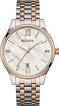Bulova Diamonds Womens Diamond-Accent Two-Tone Stainless Steel Bracelet Watch 98P150
