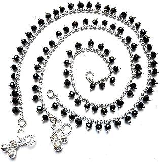 Total Fashion Black Bead Silver Colours Anklet Girls & Women