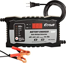 KATBO 2Amp 6 Amp Battery Charger 6V 12V Auto-Voltage Detection,Lead Acid Battery Float Charger Maintainer With LCD Display For Motorcycle Car Boat Marine Lawn mower Atv Toy Car