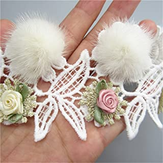 2 Meter Pom Pom Faux Fur Ball Flower Leaves Lace Edging Ribbon Cotton Floral Trim Fabric 10*9 cm Wide White Lace Trimming Embroidered Edge Applique Sewing Craft Wedding Bridal Dress Party Show Costume