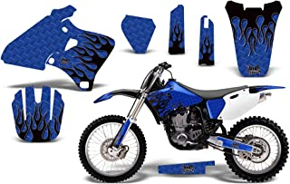 1998-2002 Yamaha YZF 250/400/426 AMRRACING ATV Graphics Decal Kit-Diamond Flames-Black-Blue