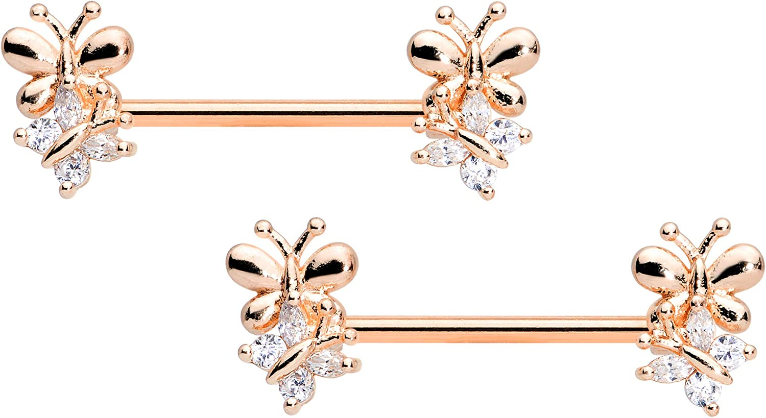 Body Candy 14G Women Nipplerings Piercing Plated Steel 2Pc Rosy Clear Accent Butterfly Nipple Ring Set 9/16