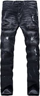 Men's Zipper Biker Jeans Ripped Distressed Slit Denim Slim Stretch Moto Pants
