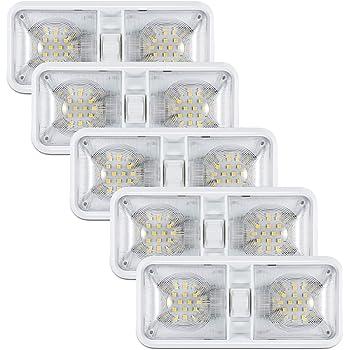 Leisure LED RV LED Ceiling Double Dome Light Fixture with Built in Dimmer Interior Lighting for Car//RV//Trailer//Camper//Boat 12V Natural White 4000-4500K 650 Lumen 5-Pack