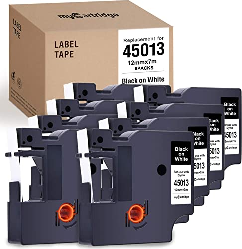wholesale myCartridge Label Tape 8-Pack outlet sale Compatible with Dymo D1 45013 (S0720530) Black 2021 On White Replacement for Dymo Label Manager 160 280 420P Pnp 220P 360D 450 210D(1/2 Inch x 23 Feet, 12mm x 7M) sale