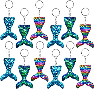 Pawliss Mermaid Party Favors, 12 Pack Flip Sequin Glitter Tails Mermaid Tail Keychains, Birthday Party Supplies Gifts Decorations for Kids Girls