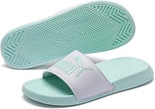 PUMA Men's Popcat Slide Sandal White-fair Aqua