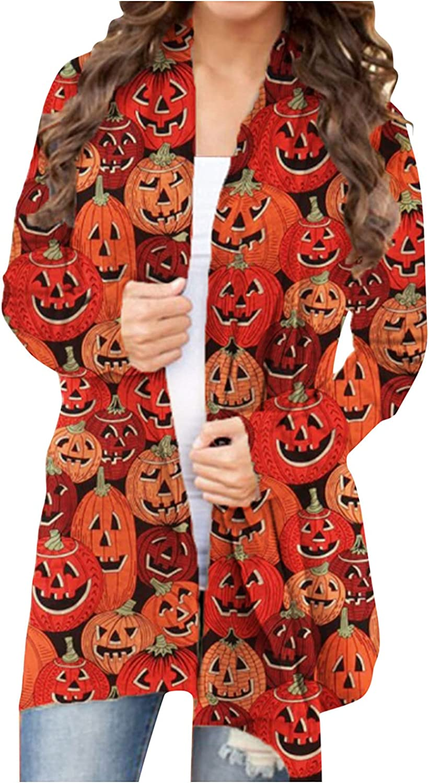 Halloween Cardigan for Women Cat Pumpkin Print Long Sleeve Soft Oversized Open Front Blouse Autumn Coat