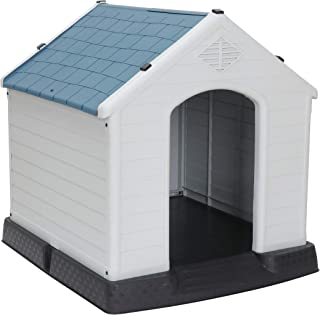 ZENY Plastic Dog House - Water Resistant Dog Kennel for Small to Large Sized Dogs All Weather Indoor Outdoor Doghouse Puppy Shelter