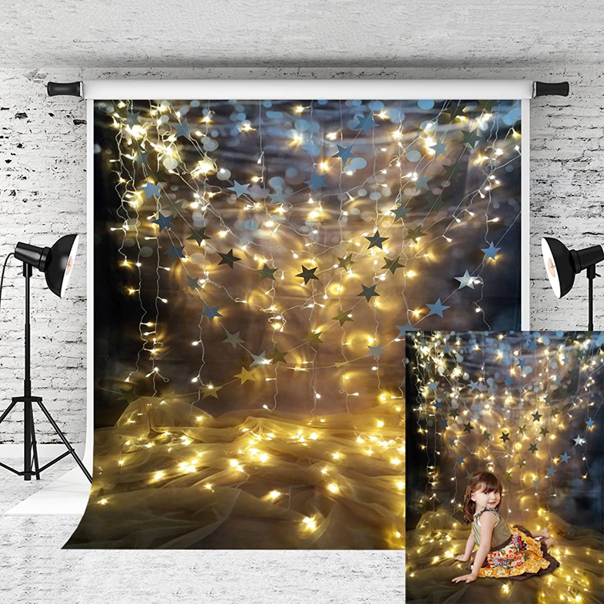 Kate 6.5x10ft Shimmer Star Backdrop Golden Lighting Glitter Photography Background for Children Wedding Photo Studio Prop