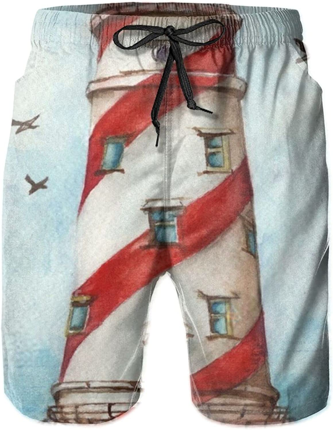 Yt92Pl@00 Mens 100% Polyester Beachwear Board Casual Lighthouse Excellent It is very popular