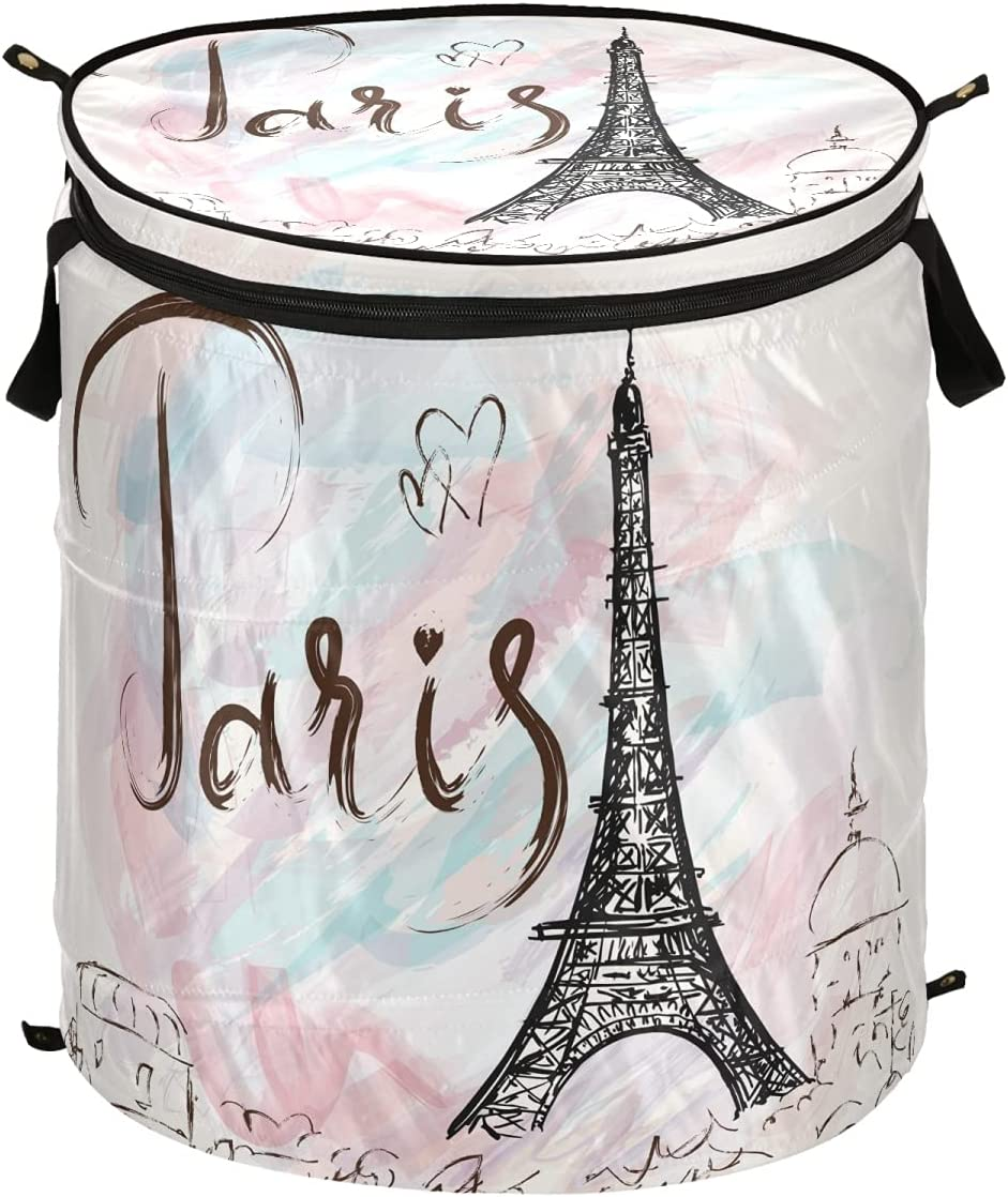 DOMIKING Eiffel Tower Paris Popup Sale Special Price Handles SALENEW very popular Co Hamper Laundry with