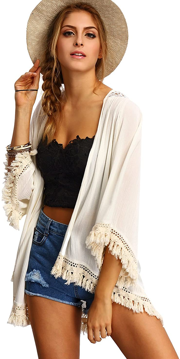 SweatyRocks Women's Tassel Kimono Fringe Cardigan Beachwear Cover up
