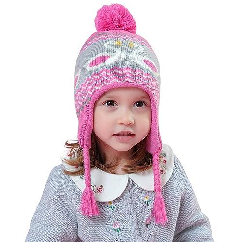 dde48060f73 Magracy Baby Toddler Winter Earflap Beanie Hat Kids Fleece Lined Knit  Peruvian Hat