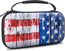 VORI Carrying Case for Nintendo Switch Lite 2019, Portable Protective Hard Shell with 8 Game Cartridges for Nintendo Switch Lite Console & Accessories Kit, American Flag