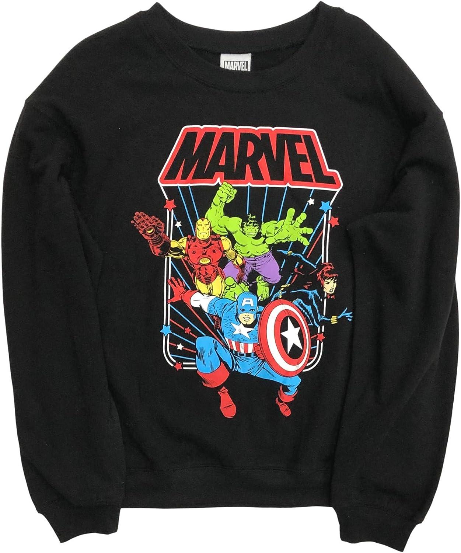 Marvel Junior Womens Black Superhero Hulk Iron Man Sweatshirt Top