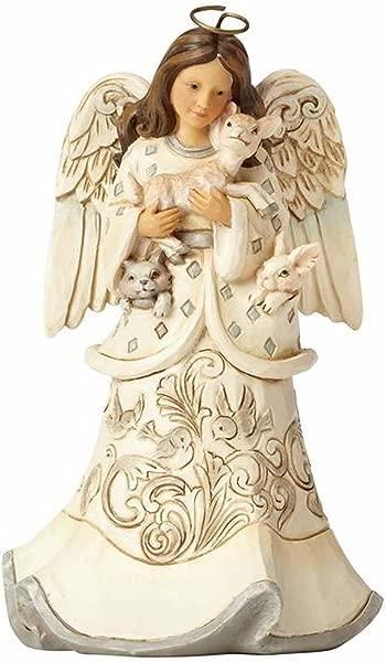 Enesco Jim Shore Heartwood Creek White Woodland Angel And Fawn 6 Figurine