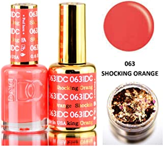 DND DC Oranges GEL POLISH DUO, Gel Lacquer 0.5 oz + Matching Nail Polish Color 0.5 oz, Daisy Nails (with bonus side Glitter) Made in USA (Shocking Orange (063))